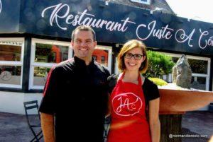 Olivier et Amandine Foulon les patrons du restaurant Juste à Côté à St Romain