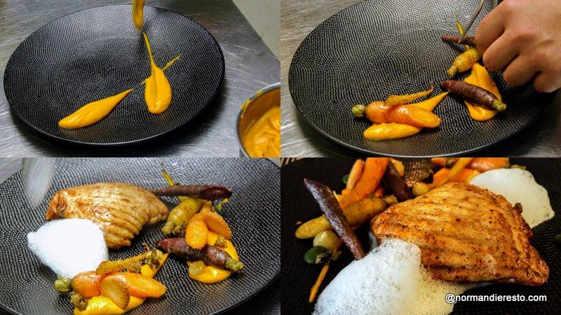 Dressage de la raie aux carottes et émulsion au Gingembre au restaurant la Tablée au Havre