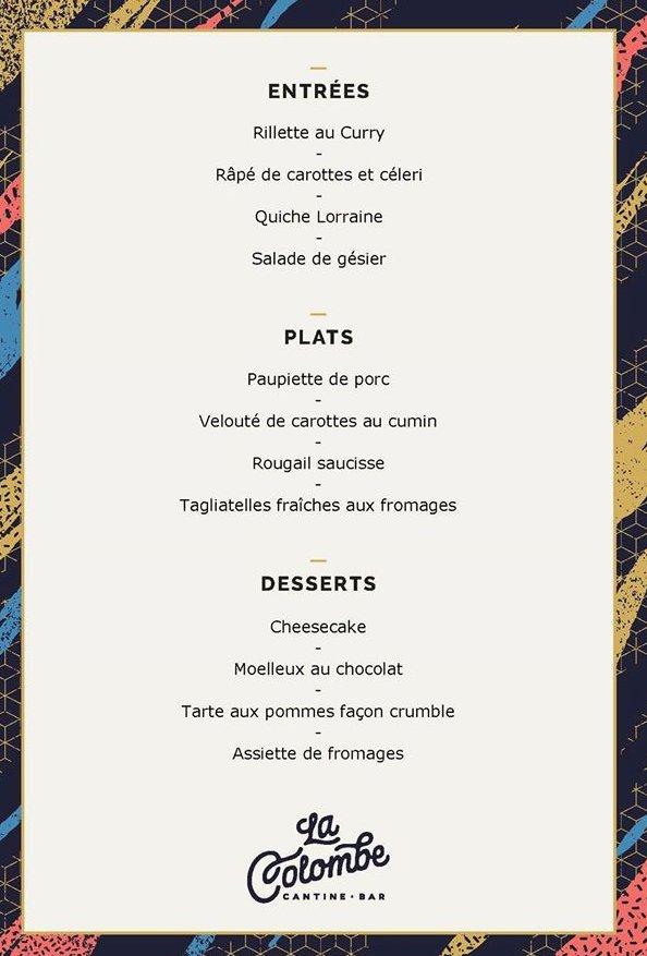 le menu du jour de la Colombe Cantine et bar