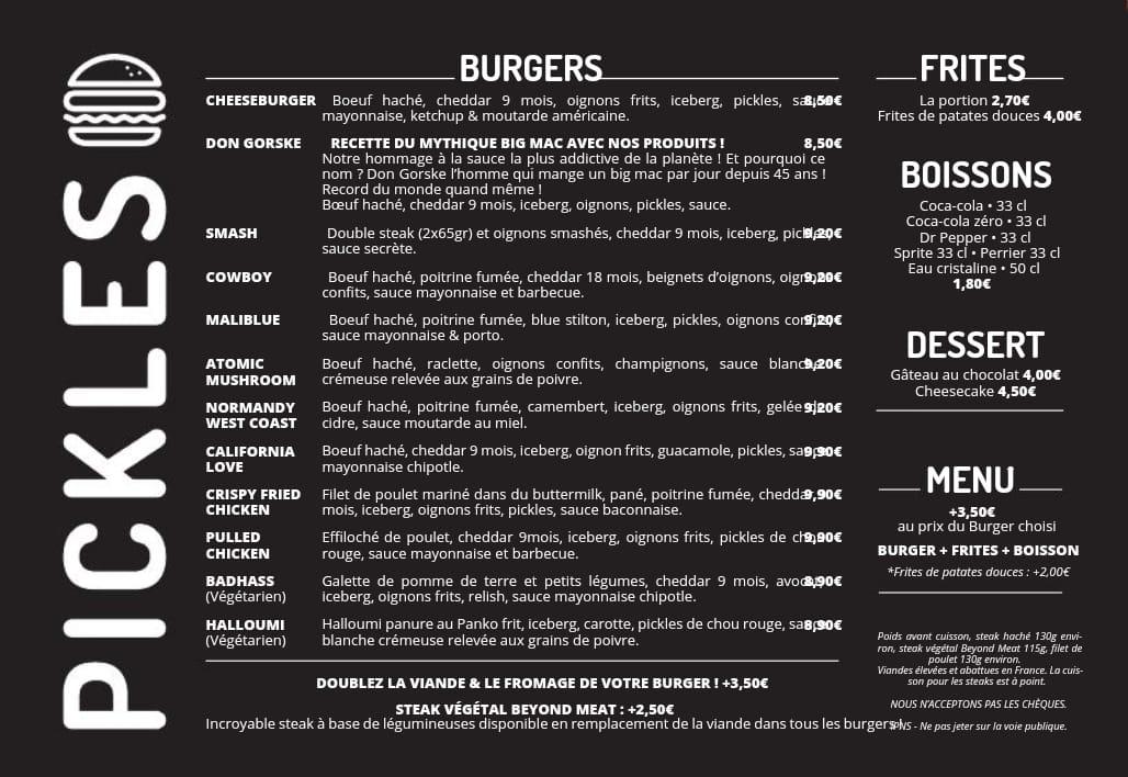 Le menu du Pickles ex Fiftys au Havre